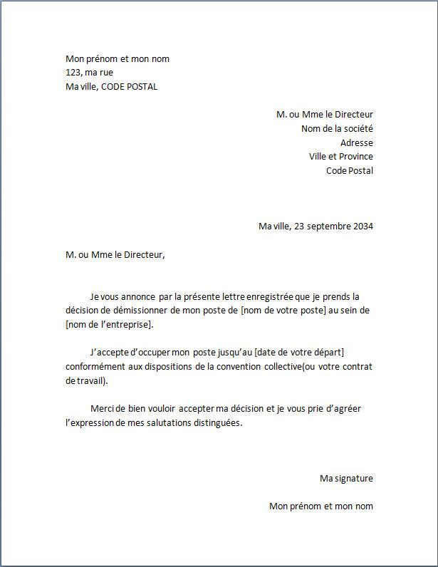 Modèle de lettre de démission standard - Docutexte