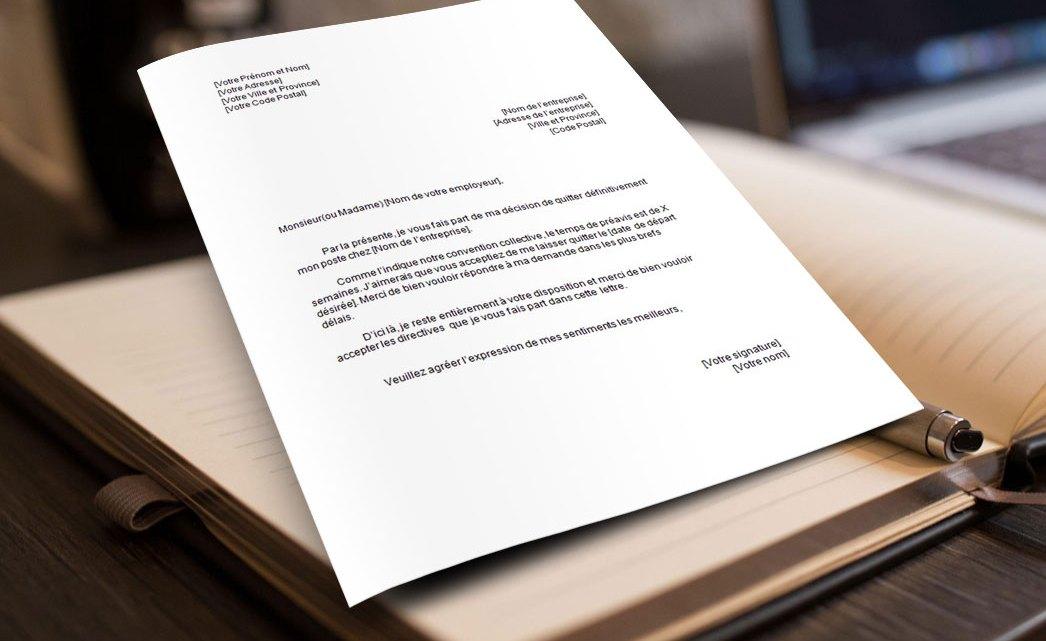 Lettre de démission avec départ anticipé