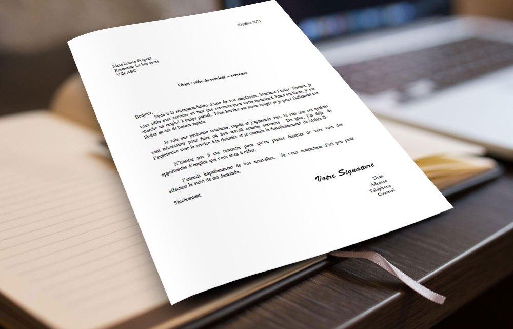 Lettre de motivation | Serveuse