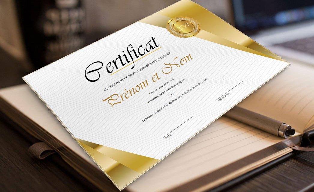 Modèle de Certificat de Reconnaissance