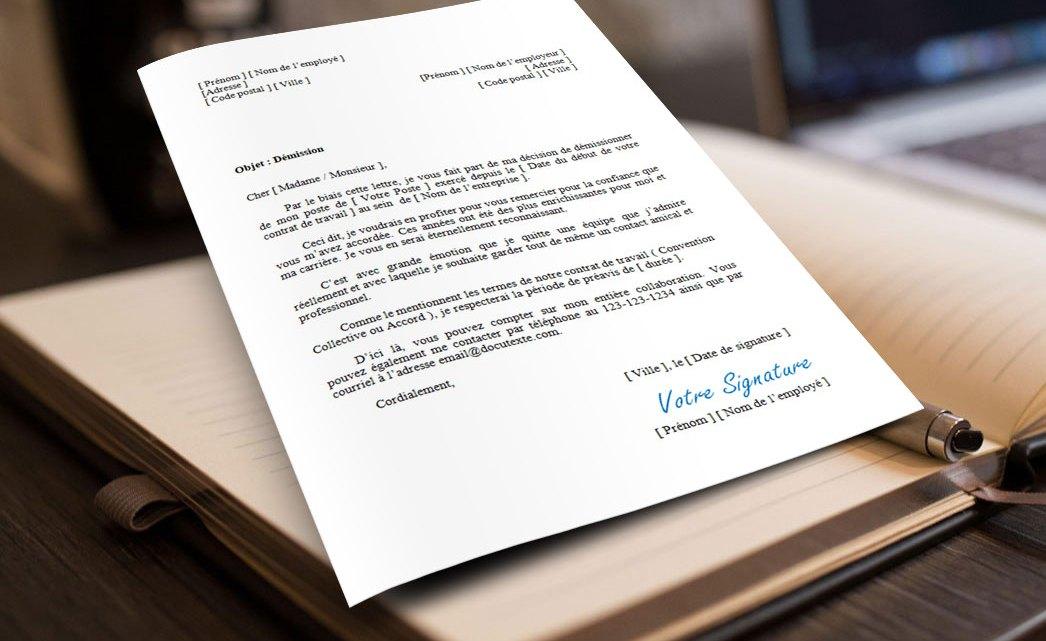 Lettre de démission avec remerciements
