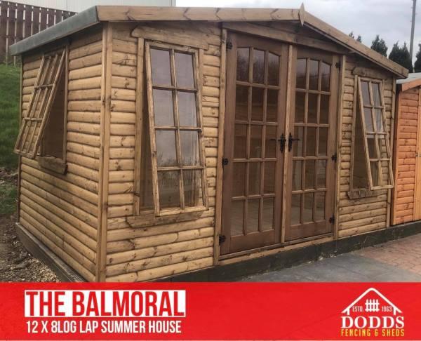 balmoral 12' x 8' log lap summerhouse