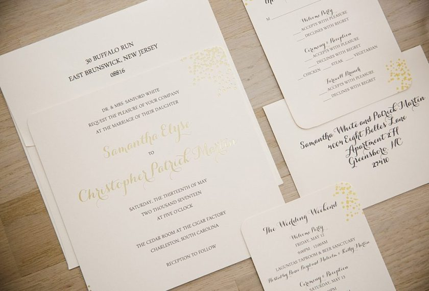 This Gold Confetti Wedding Invitation Is So Unique In That All Of The Pieces Are Printed On A Beautiful Soft Blush Paper Itself Utilizes