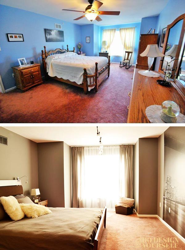 before and after monochromatic master bedroom