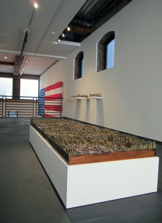 Dave Cole, 'Leaves of Grass,' 2010, hand-cut military shell casings with melted bullets and bullet fragments, 6 x 32 x 94 inches