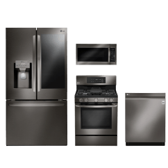 Lg Kitchen Suite Deco 4 Piece Package Black Stainless Steel Lgkitlfxs28596d