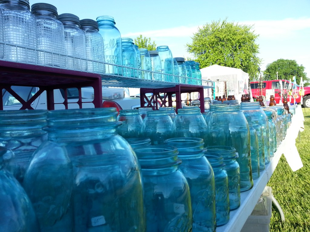 Old mason canning jars for sale at the first Flea Market May 31, 2014