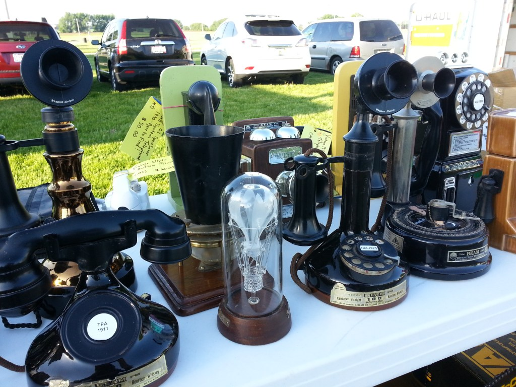 Old telephones were just one of the many finds at the first Flea Market May 31, 2014