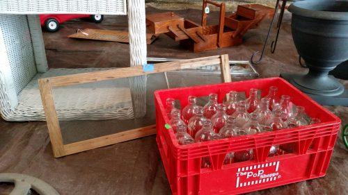 Vintage Pop Shoppe Glass Soda Bottles at the Flea Market