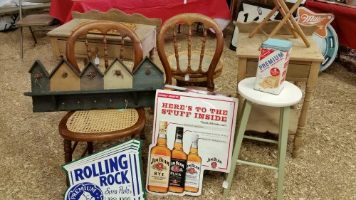 Vintage Beer Signs and Furniture at the Flea Market