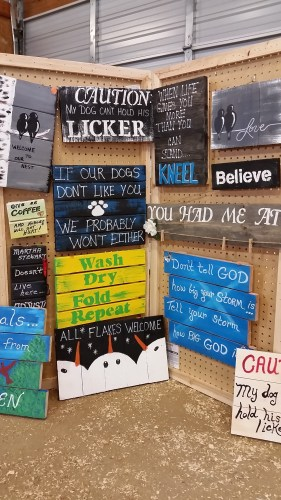 Pallet Signs at the Dodge County Flea Market