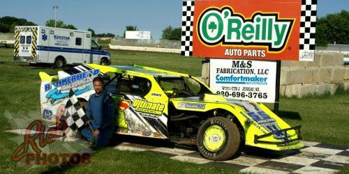 Jeff Schmuhl IMCA Sport Mod Heat Race Win