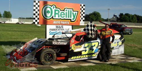 Kelly Brown won the IMCA Modified Heat Race