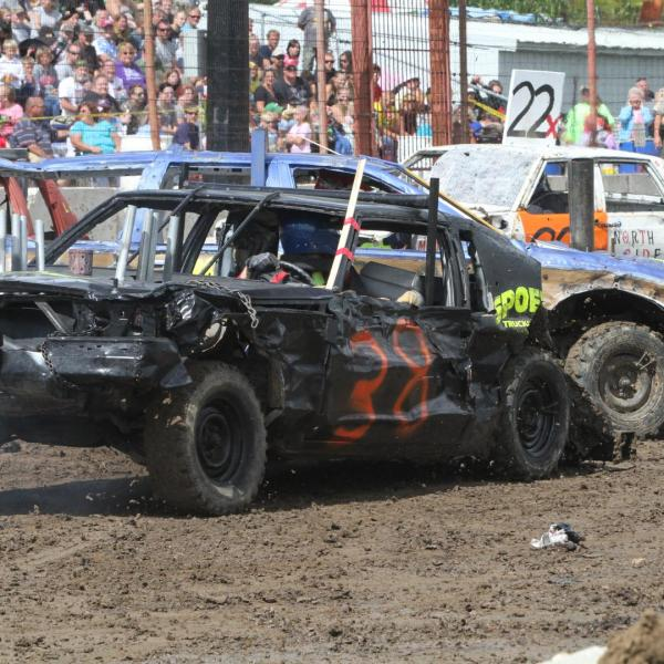 Action Packed Demo Derby at Dodge County Fair