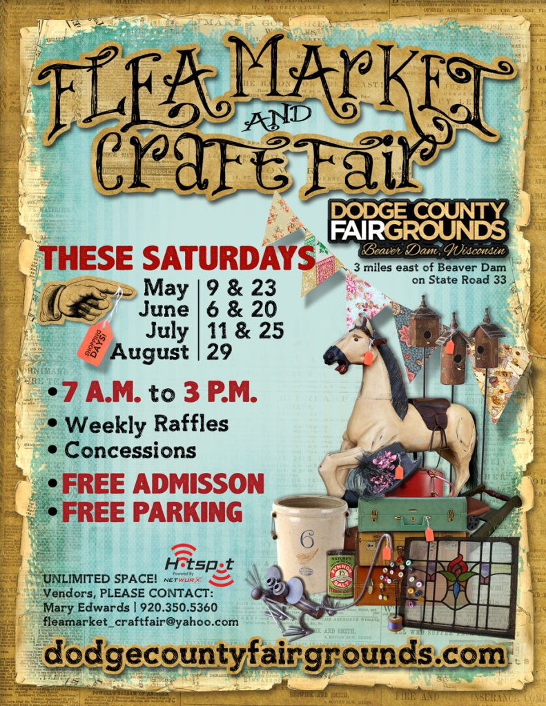 2015 Flea Market and Craft Fair Poster at the Dodge County Fairgrounds near Beaver Dam, WI