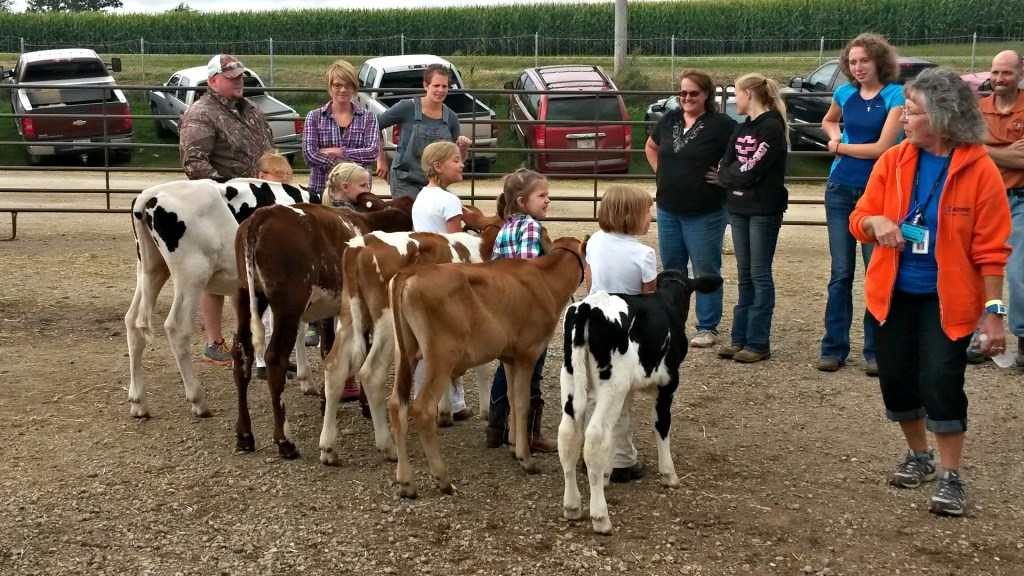 Contestants for the Little Britches Showmanship Contest prepare outside the Arena