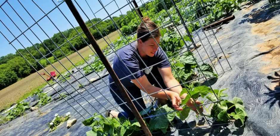Shelly Grosenick in garden