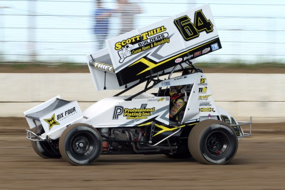Scotty Thiel in the 64 IRA Outlaw Sprint Car