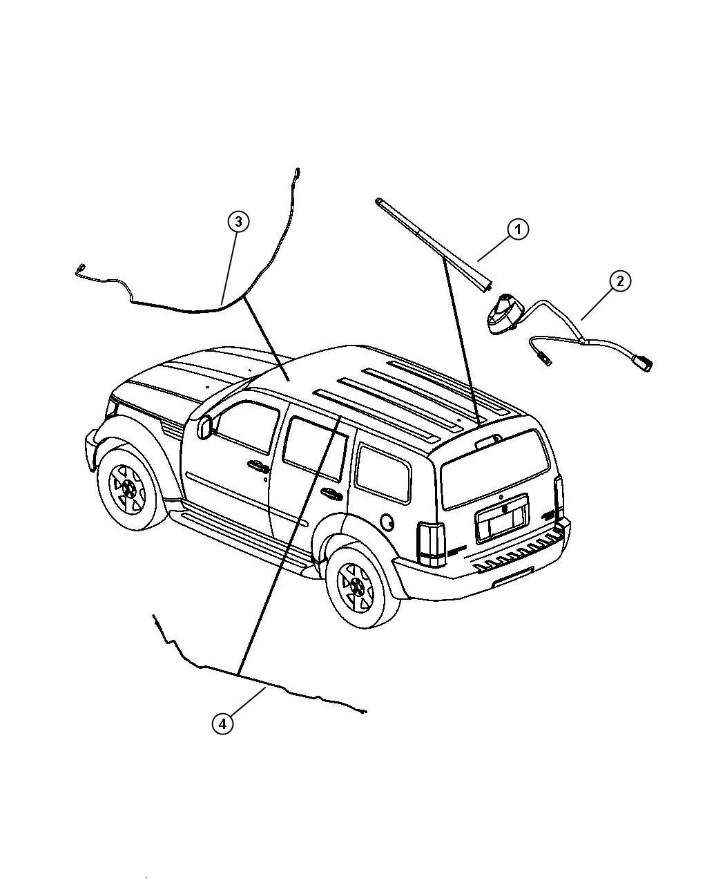 2007 Dodge NITRO Mast. Antenna. [rdb]. Radio, speakers