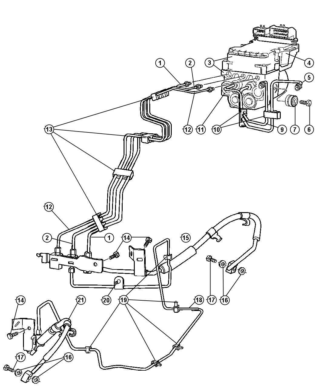 Dodge Ram Tube Brake Primary Wheel Lock Anti