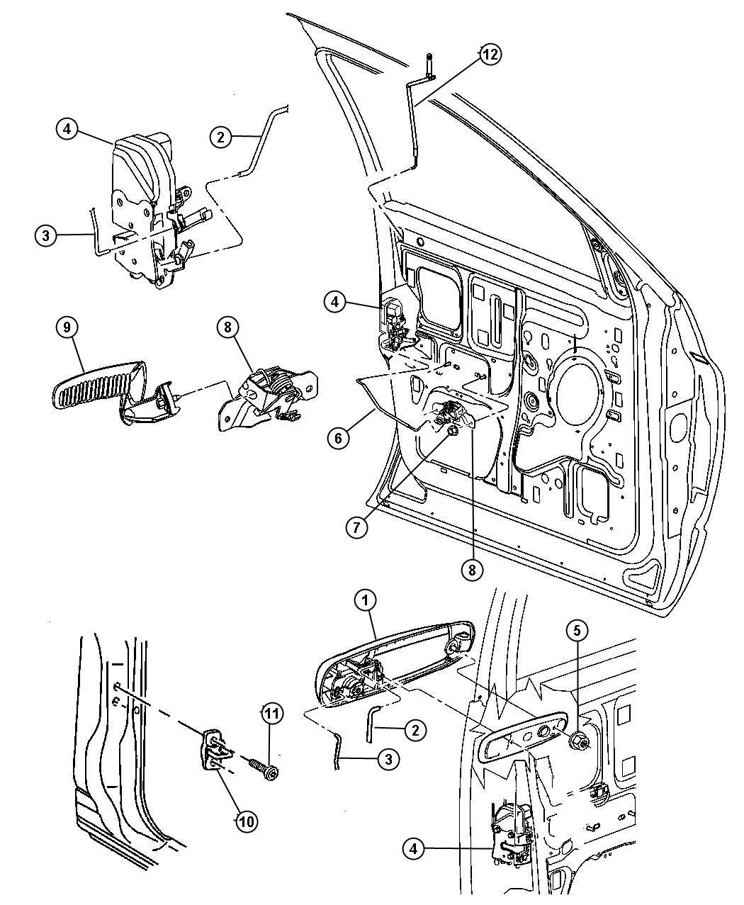 Dodge Ram Handle Inside Release Right Black Door
