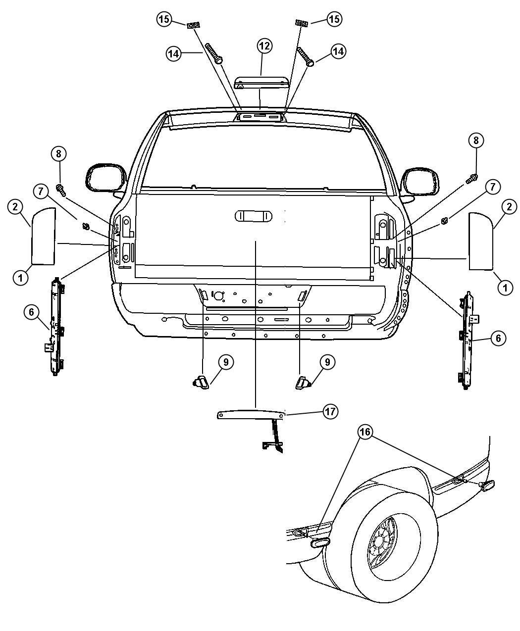 2003 Dodge Ram 3500 Lamp. License plate. Left. Rear