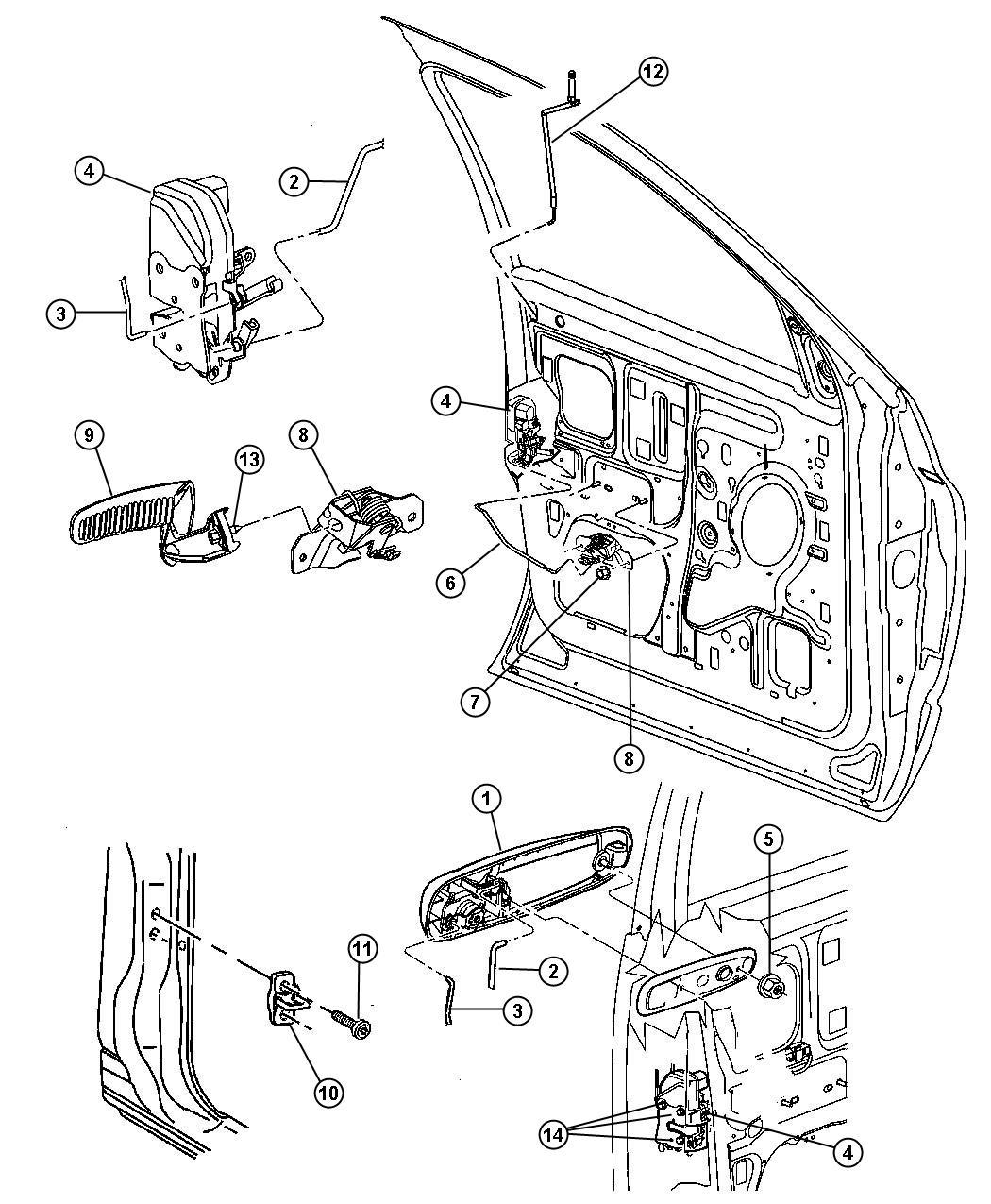 Dodge Ram 1500 Latch. Front door. Power, locks, left