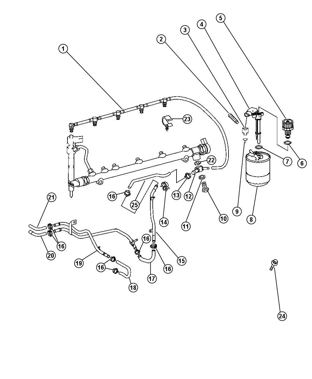 Dodge Viper Screw. Fuel filter screw, to fuel filter