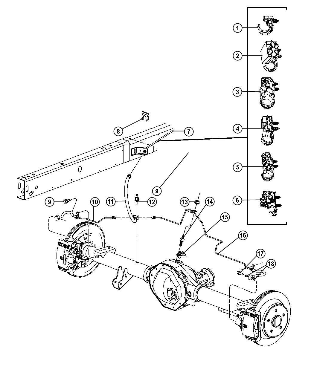 Dodge Ram 1500 Hose. Brake. Rear. [anti-lock 4-wheel disc