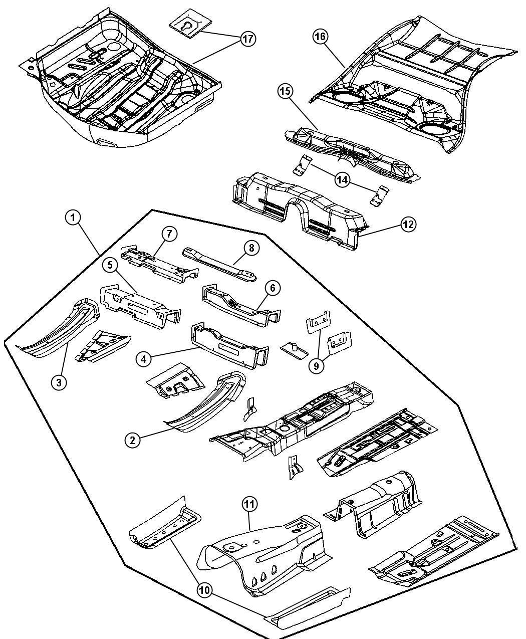 Dodge Magnum Cover. Torque box. Left. Front, pan, shields