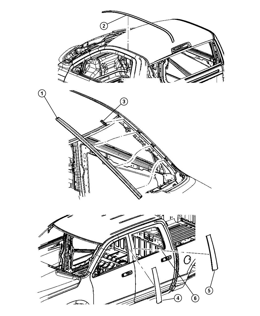 Dodge Ram 3500 Molding. Roof. Left. Mega cab. Body
