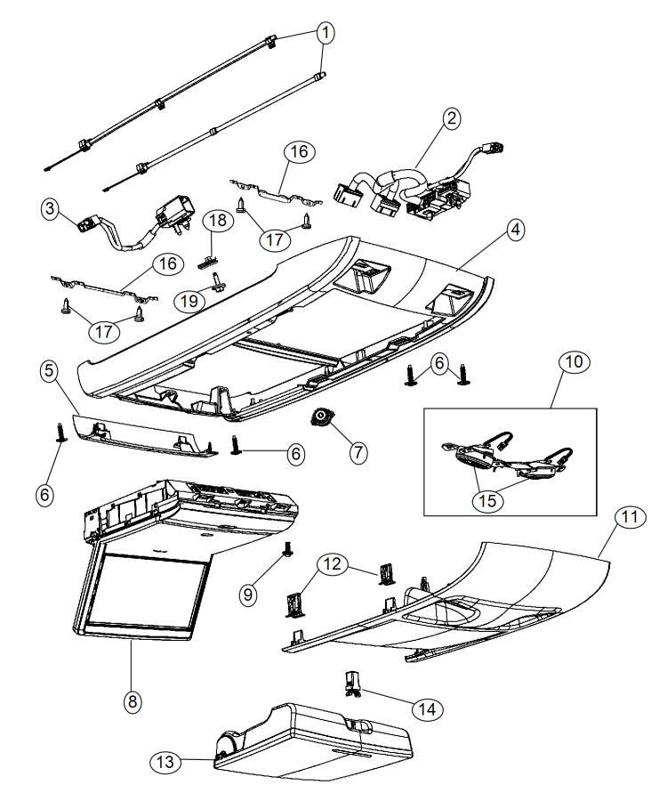Dodge Grand Caravan Monitor. Media system. Rear. Trim