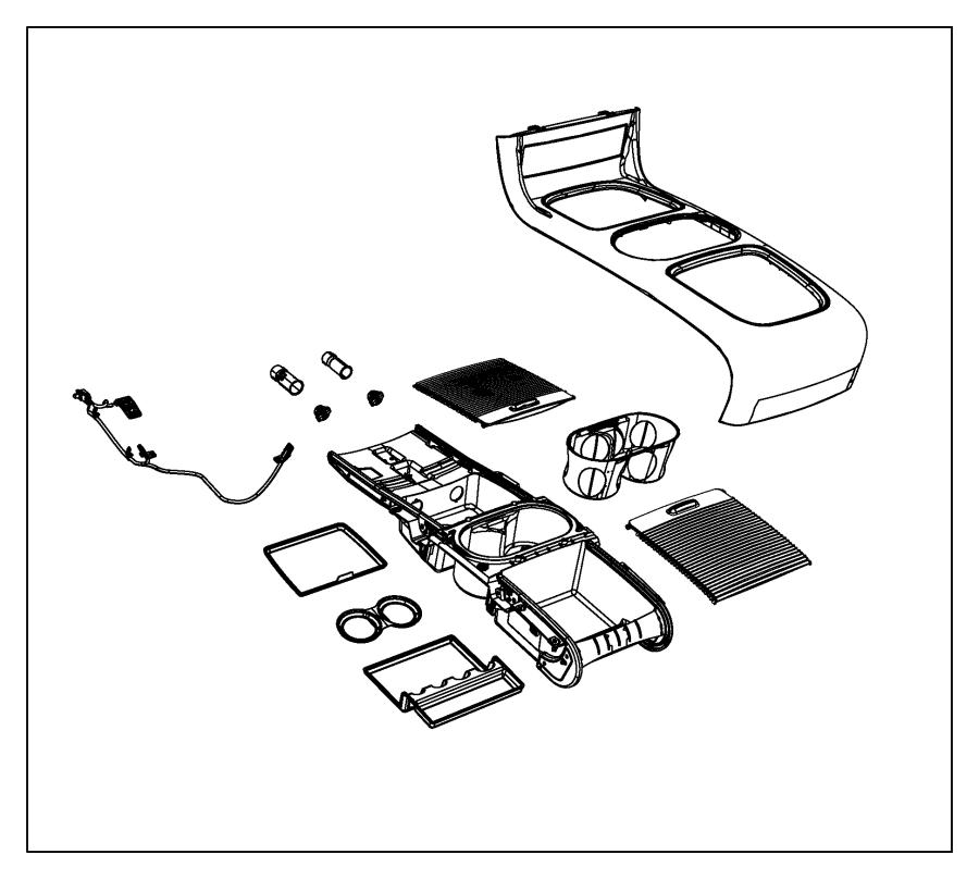 Dodge Grand Caravan Mat. Floor console. [black/lt
