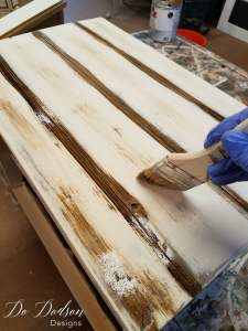 Glazing the faux plank table top / Dixie Nightstand / Painted Furniture Makeover