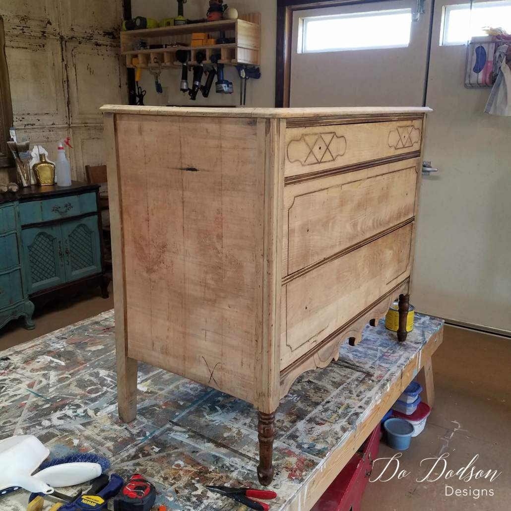 Beautiful raw wood after veneer removal on this wood dresser. #dododsondesigns #veneerdamage #veneerremoval #wooddresser