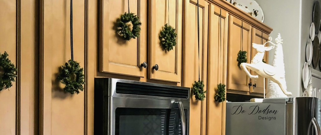 Eye Catching Mini Wreaths That Will Transform Your Holiday Kitchen Cabinets - Do Dodson Designs