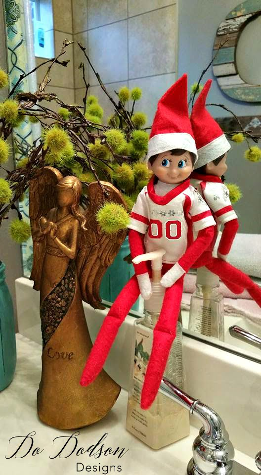 Elf on the shelf mischievious ideas with antibacterial soap.