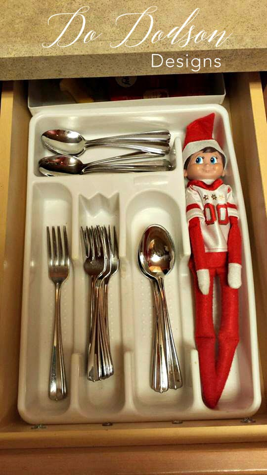 Elf on the shelf mischievious ideas spooning with the dinnerware.