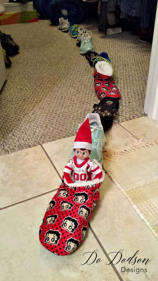 Elf on the shelf mischievious ideas riding the shoe shoe train!