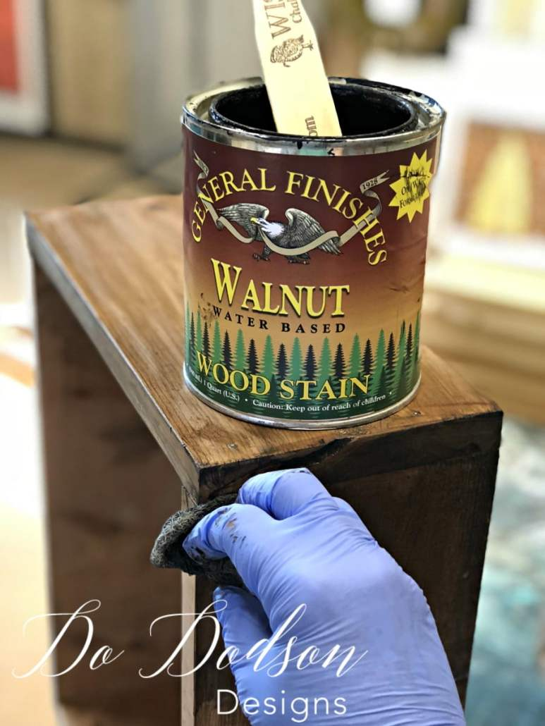 I used General Finishes Walnut water based stain to give my decorative shelves a rich warm color.