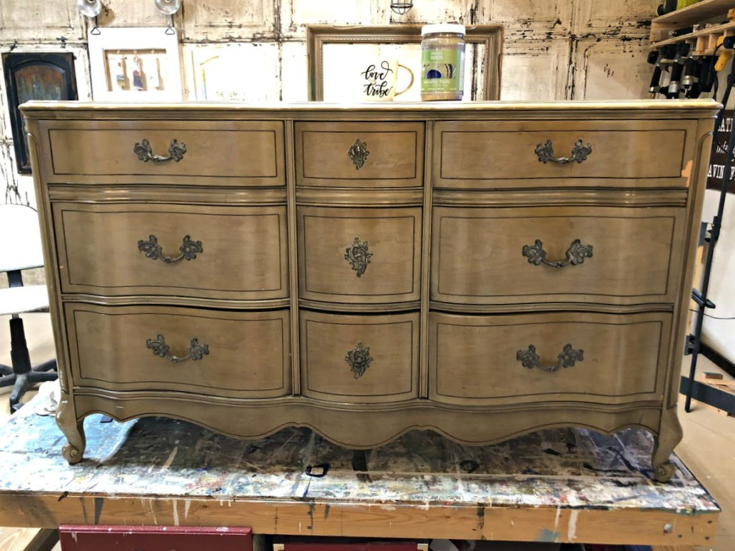 The after is better than the before! Metallic paint for furniture. #dododsondesigns #metallicpaintforfurniture #metallicpaint #paintedfurniture #furnituremakeover