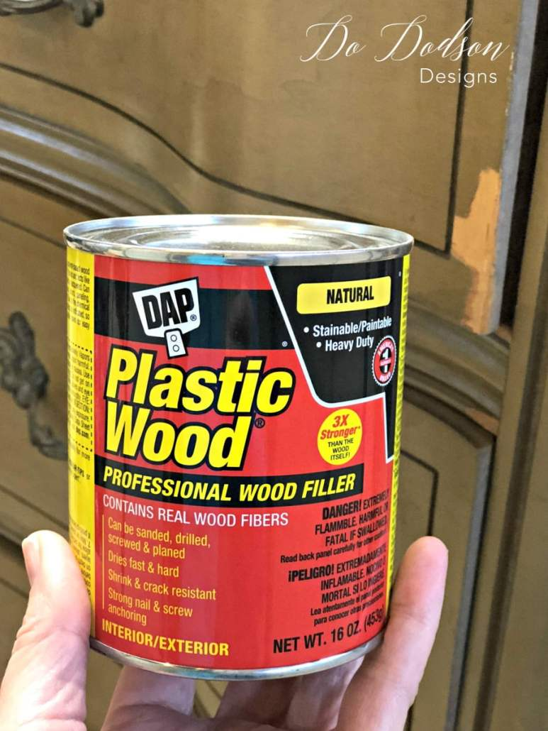 I use plastic wood filler bt DAP for my small veneer issues before painting my furniture. #dododsondesigns #woodfiller #furniturerepair