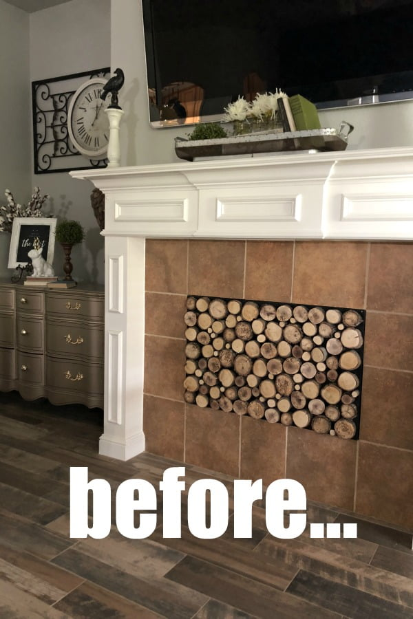 My solution for those ugly floor tiles around my fireplace? A gorgeous stencil over painted tiles! It turned out so well! Look What Painted Tiles Did To My Fireplace #dododsondesigns #paintedtiles #fireplaceremodel #stencils #fireplacemakeover #stencildesigns