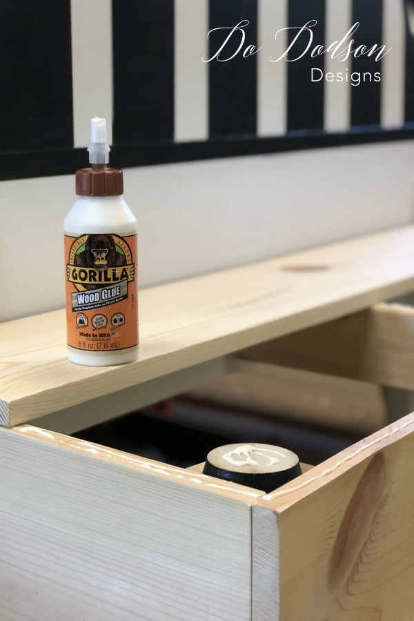 I added wood glue before securing the headboard bench seat.