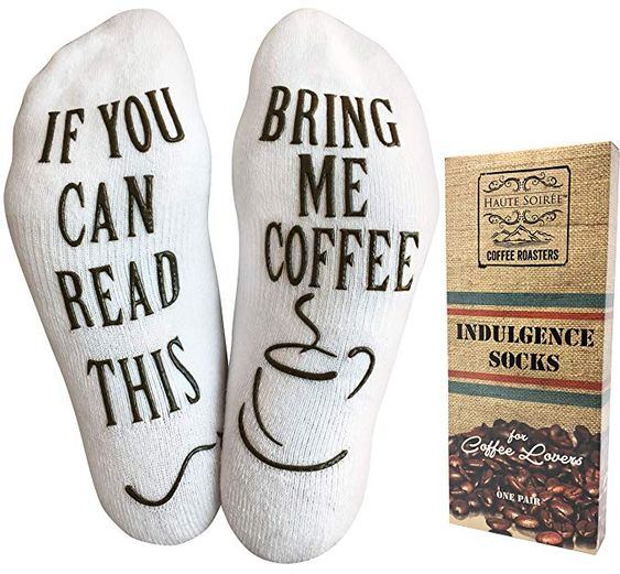 Funny Coffee Socks gift ideas for women that love all things coffee.