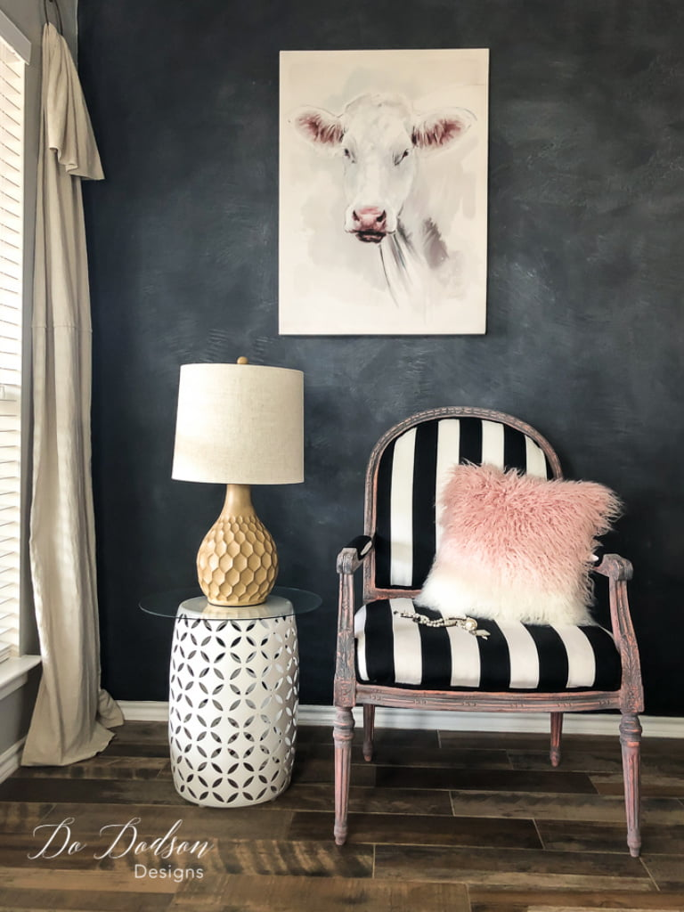 Add a touch of modern to a vintage armchair by adding bold stripes and an aged paint finish with Dixie Dirt.