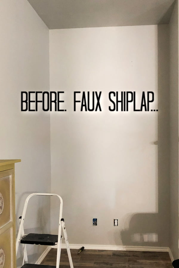 Adding a faux shiplap wall to a small wall adds tons of character and it's not as hard as you may think.