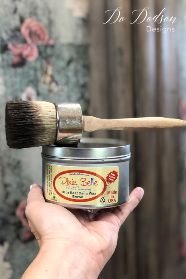 Multi-use paint/wax brush for furniture makeovers.