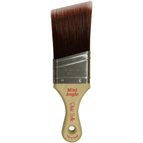 The mini angle synthetic bristle paint brushes are perfect for those hard to reach areas inside of furniture.