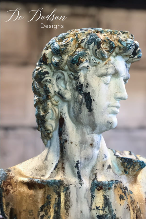 The bust of Michelangelo's David is complete now with a cool aged patina finish. I love a good thrift store find.